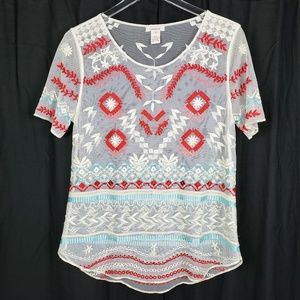 Sundance Catalog Embroidered Sheer Top